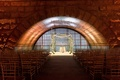 Wedding ceremony granite arch at new york city venue unique architecture under bridge