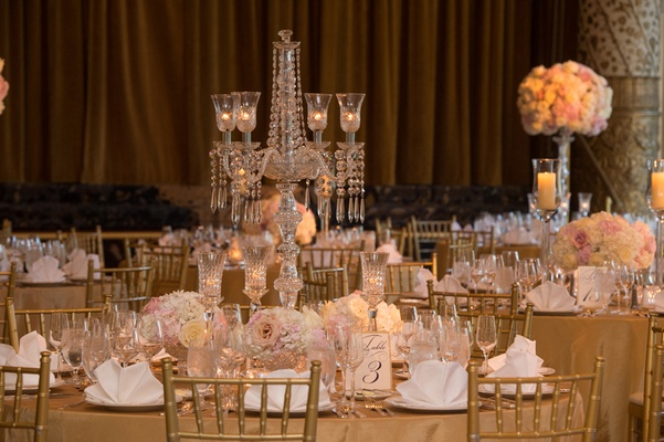 drake hotel gold coast ballroom, crystal candelabra, blush gold and ivory wedding