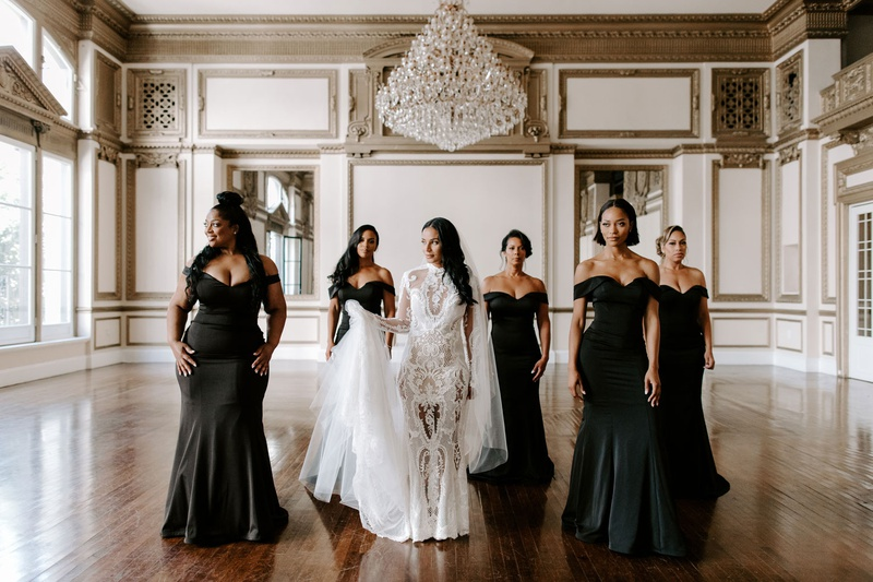 may queen inc bridesmaid gowns, black off-the-shoulder dresses, Zena Foster wedding