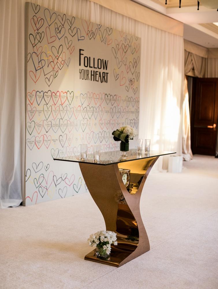Wedding reception unique escort card ideas hearts colorful follow your heart