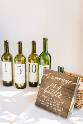 wedding ceremony reception guest book alternative message in a bottle write it roll it wood sign