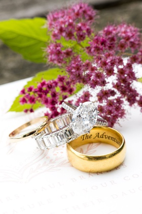 oval diamond engagement ring with pave band with eternity band and men's gold wedding ring engraved