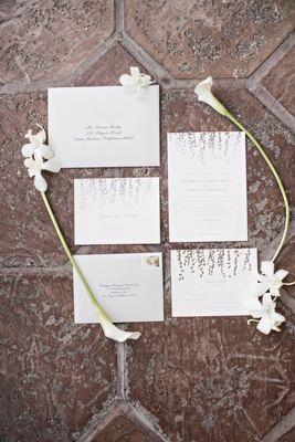 invitation suite subtle purple silver color palette details gray southern california wedding paper