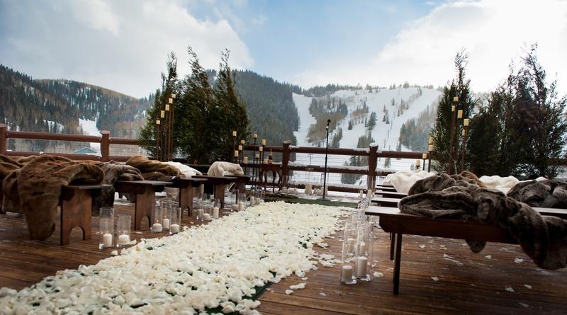 Park City lodge venue with view of ski slopes