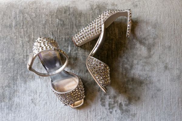 Wedding shoes studded heels peep toe silver metallic ankle strap thick heel