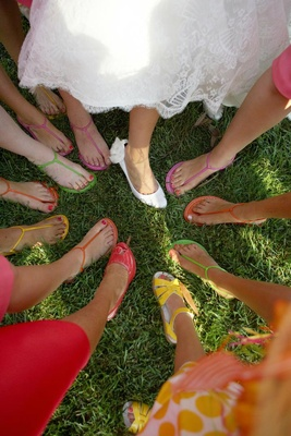Bridal party colorful sandals for summer wedding