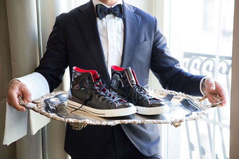 aafdf34bb19e Grooms   Groomsmen Photos - Patent Leather Sneakers on Platter ...