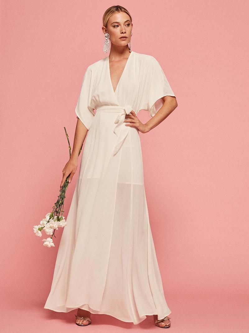 157419e81f0a Reformation wedding dress Winslow wrap dress v-neck and kimono sleeves