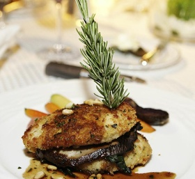Wedding main course with chicken and eggplant