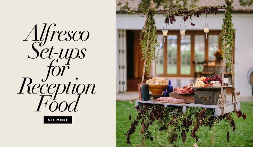 Discover cool ways to display your food and drink during an outdoor wedding event.
