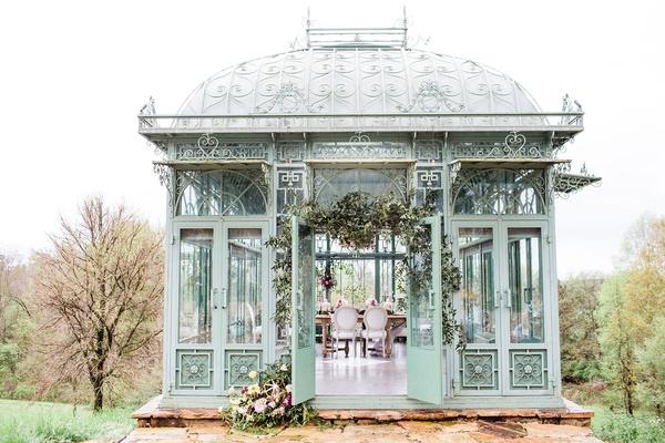 2400 on the river wedding, enclosed mint green gazebo