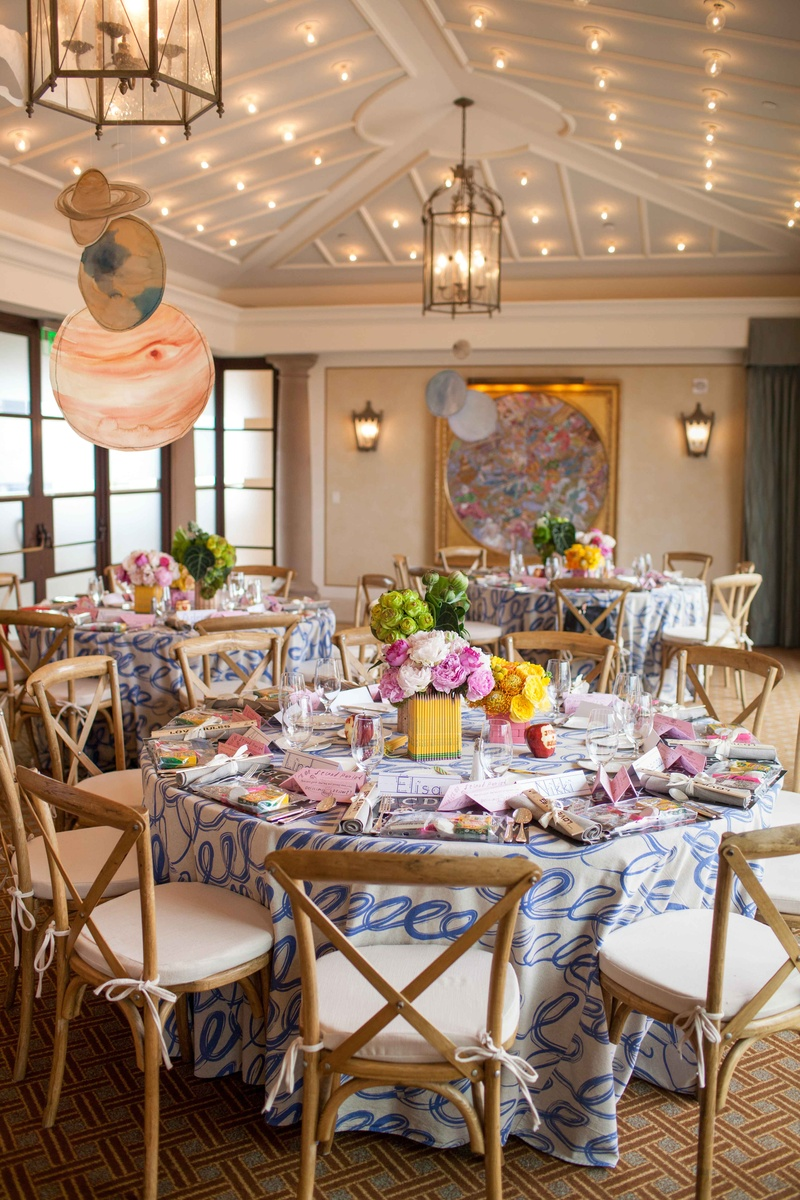 Bridal shower at Montage school theme with planets hanging from ceiling eraser pencil ruler details