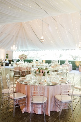 calamigos ranch tented wedding reception, clear chiavari chairs, blush and ivory centerpieces,