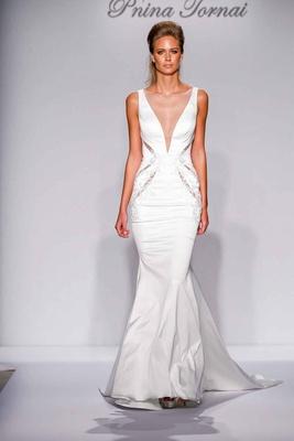 Pnina Tornai for Kleinfeld 2016 illusion deep v wedding dress with cutouts