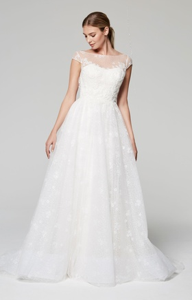 Anne Barge Blue Willow Bride Fall 2018 collection tulle gown with bateau neckline and cap sleeves