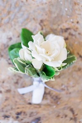 Gardenia wedding boutonniere with green leaves and grey ribbon