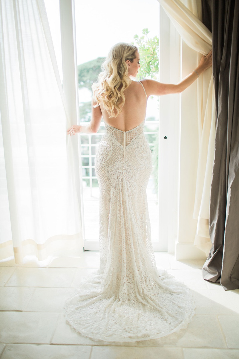 back view of beaded wedding dress with open back
