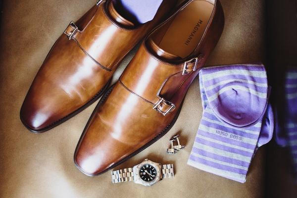Groom's brown shoes, hugo boss purple and white striped socks, watch, cuff links