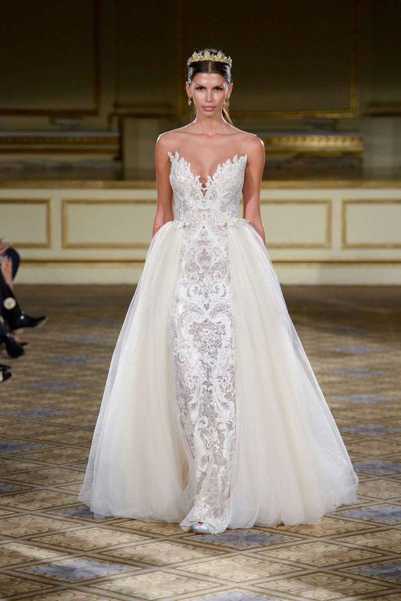 Wedding dresses photos berta fw16 lace gown with for Wedding dress with overskirt