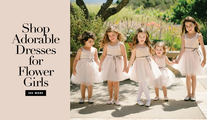 Shop adorable flower girl dresses for your wedding ceremony