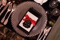 wedding reception black table charger plate black napkin red ribbon black thank you note