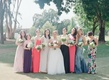 Pink, purple and taupe mismatched bridesmaid dresses