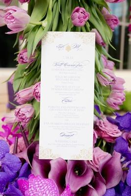 Alethia & Erik menu by Ceci New York, damask desigbn, gilded and violet details, monogram