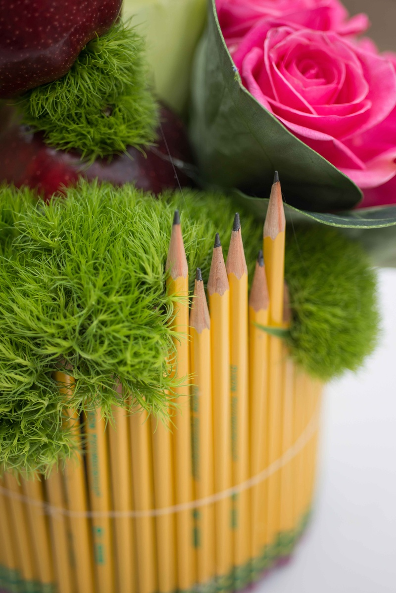 Pink rose green moss #2 pencil sharpened with erasers at bottom vase bridal shower school theme