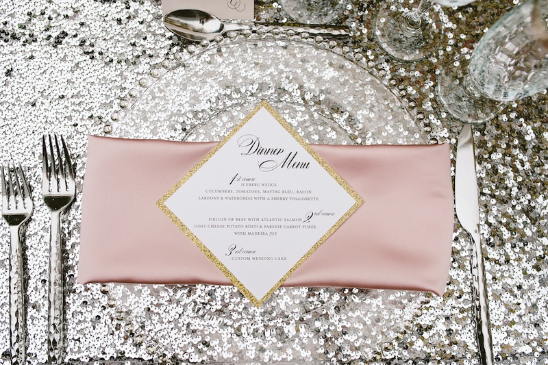 Gold glitter border on square shaped diamond dinner menu with three courses