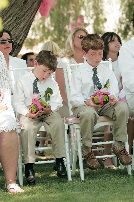 Cute little boys in ties at ceremony