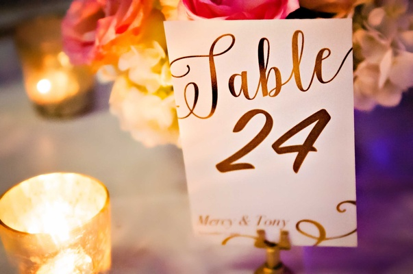 Table in calligraphy with number and couple's names candlelight in golden votive