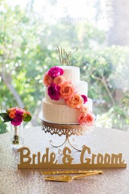 3 three tier wedding cake white pink salmon flowers custom topper simple southern california