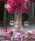 Floating candles and magenta floral arrangement