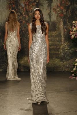 "silver beaded ""alice"" column dress by jenny packham"
