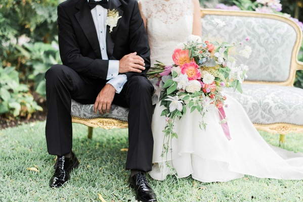 ... Groom In Tuxedo And Dress Shoes With Rustic Boutonniere Bride In Jinza  Bridal Couture With Bouquet ...