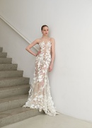 Francesca Miranda Spring 2019 collection fit and flare tulle gown with illusion neckline