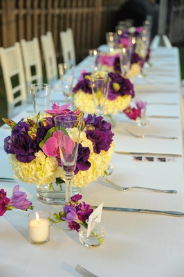 hydrangea and orchid centerpieces