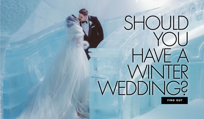 bride and groom in ice castle, pros and cons of winter weddings