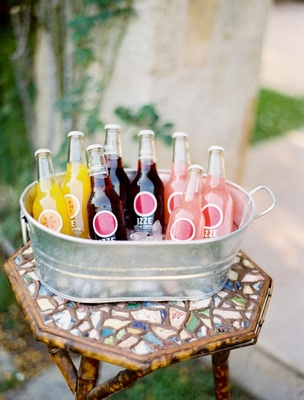 Outdoor wedding with a tin tub of Izze