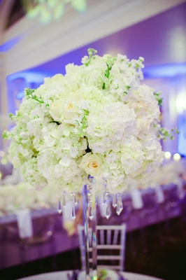 Snowy hydrangea and roses with hanging crystals