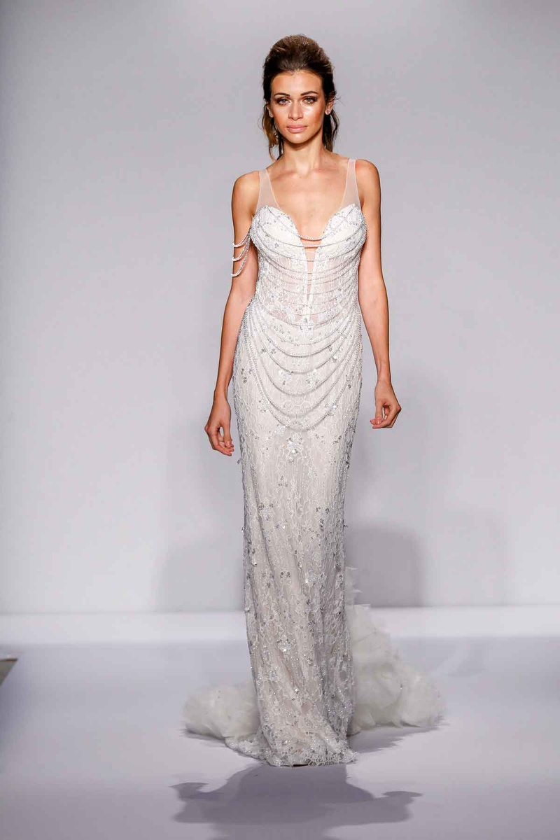 Pnina Tornai for Kleinfeld 2016 sheath wedding dress with draped Swarovski crystal strands