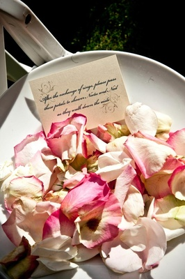 Pink and ivory roses to toss after ceremony