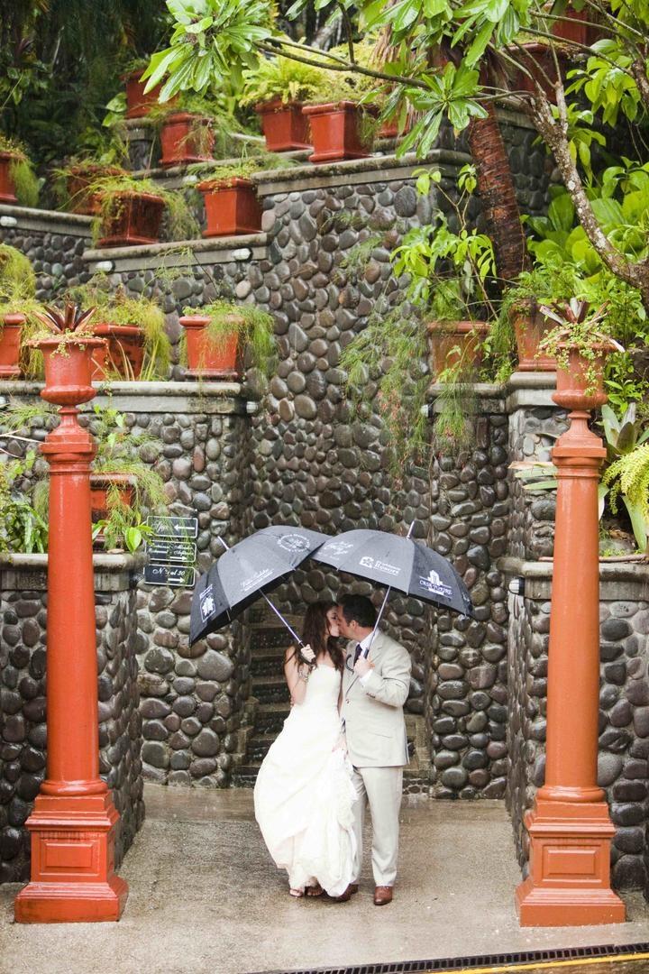 Bride and groom kissing under umbrellas