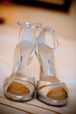Jimmy Choo silver sandals with ankle strap