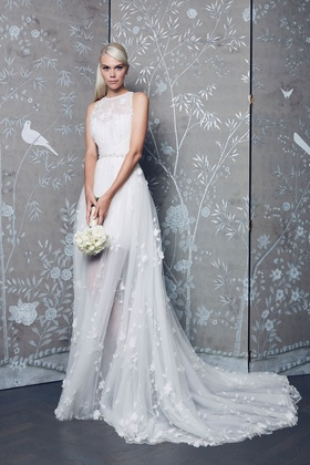 Legends Romona Keveza Fall 2018 collection lace halter a-line gown with flowers