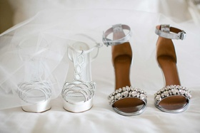 Sergio Rossi platform white wedding shoes with silver jewels and strappy sandal bridal shoe