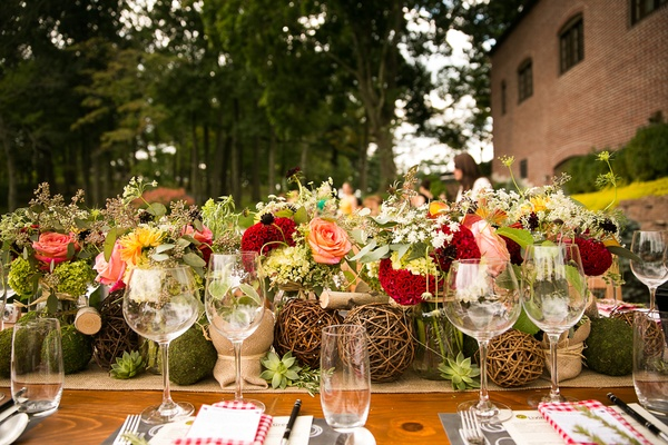 Rustic farm centerpiece for wedding shower with fall colors