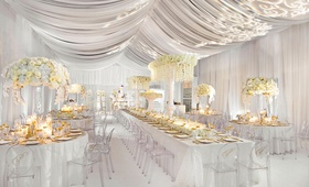 Wedding reception decorations all white drapery gold accents white flowers akeem clayton designs