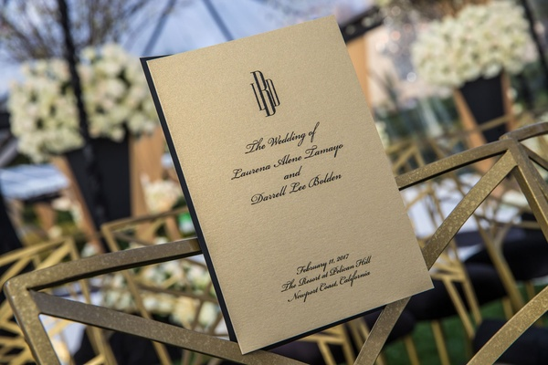 Wedding program ceremony gold stationery black monogram and script