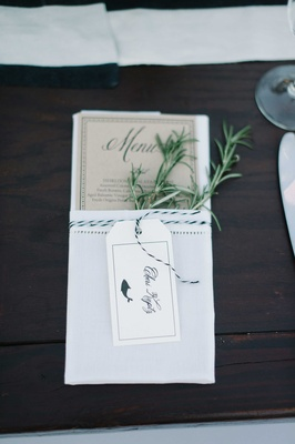 rustic simple menu rosemary calligraphy tan paper fish animation blue and white beach wedding
